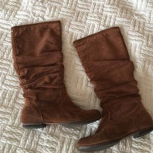 UGG Brown Suede Perforated Slouch 'Abilene' Boots