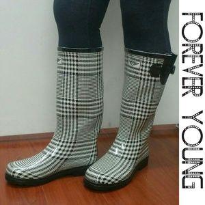 Women Tall Rain Boots, #1510, White Plaid