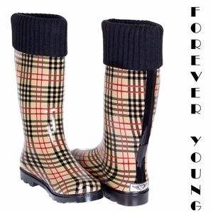 Women Tall Rain Boots, #1805, Plaid w. Cuff