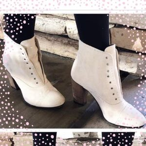 All Saints Shoes - All Saints White Textured Booties