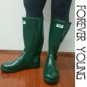Forever Young  Shoes - Women Knee High Rainboots, #3106, Green