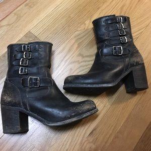 Frye distressed black boot with brown buckle heel