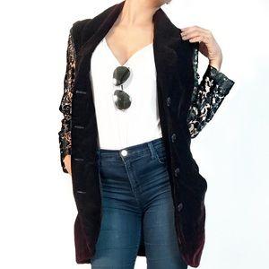 Vintage Jackets & Blazers - Vintage velvet and lace blazer