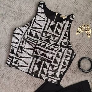 Lily White Tops - Crop Sequin Graphic Print Top