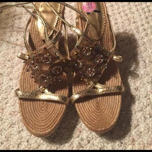 Report Shoes - Golden sandal tie around the legs high size 8.5