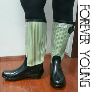 Forever Young  Shoes - Women Knee High Rainboots, #1516, Black Retro
