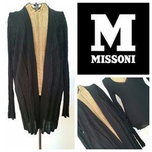 M by Missoni Sweaters - M MISSONI black zig zag Long cardigan sweater