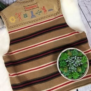 Disney Other - Disney LEATHER Wool Aztec Pocahontas Vest Men's L