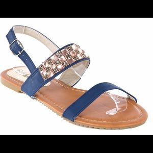Victoria K Shoes - Women Slingback Navy Summer Sandals S1971A