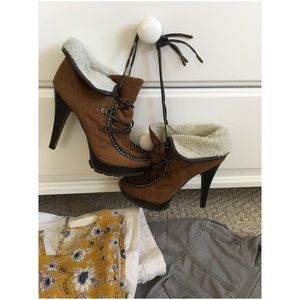 High Heel Lace-Up Hiking Bootie w/Faux Fur Trim