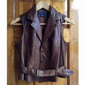 Ralph Lauren Jackets & Blazers - Ralph Lauren Fitted Leather Vest Size:4 LIKE NEW