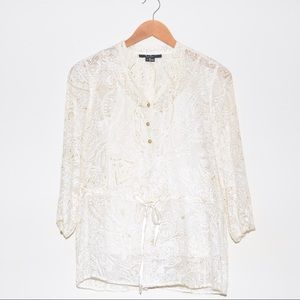 ECI Tops - ECI Ivory Gold Detail 3/4 Sheer Silk Two-Piece Top