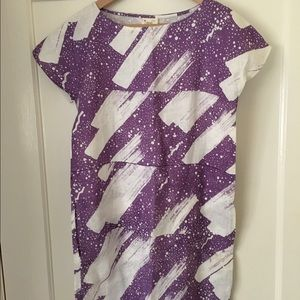 Galaxy print mini dress with pockets