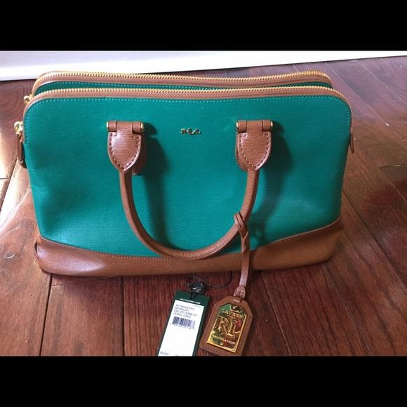 e0fd10889aba Ralph Lauren Newbury Dome Satchel Green Leather. M 589670676d64bc2684022e33