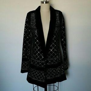 Studded Black Velvet Blazer