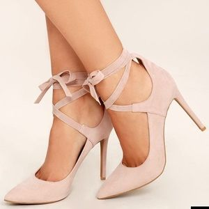 Lulus Shoes - Looking Good Nude Suede Lace-Up Heels