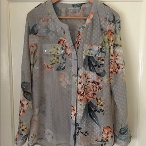 Floral, flowy, sheer blouse with camisole