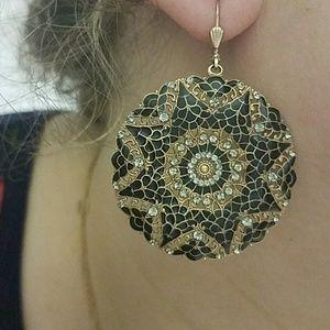 Catherine Popesco Jewelry - Catherine Popesco round black gold earrings