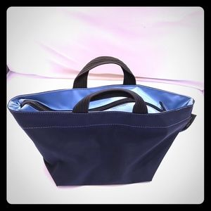 Herve Chapelier Handbags - Herve Chapelier Small store Bag Navy/Light Blue