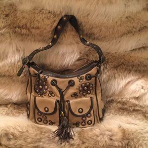 Janesville Leather tan/brown purse hobnob detail