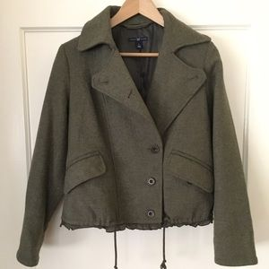 Olive green wool short coat