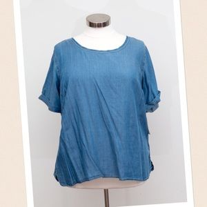 Fashion to Figure Tops - Fashion To Figure - Denim Short Sleeve Hi Lo Top