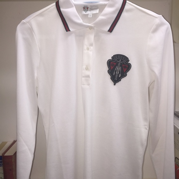 700077060eb Gucci Tops - Gucci equestrian collection white long sleeve polo
