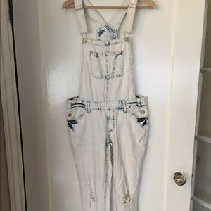 Bleached, distressed overalls