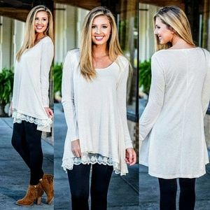 Tops - NEW! White Lace Bottom Tunic **LAST ONE!!**