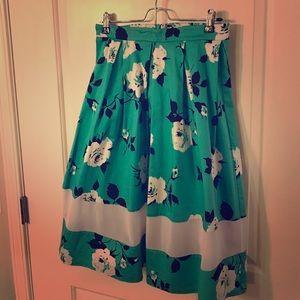 Aqua Floral Waste Skirt