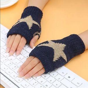 Accessories - Blue fingerless gloves, fingerless knitted gloves