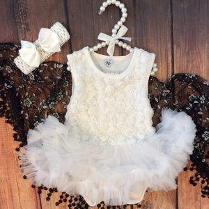 Other - Boutique Baby Rosette Tutu Dress Romper & Headband