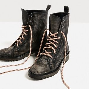 Zara Shoes - Zara leather lace up ankle boots size 9 EUR 40 NEW
