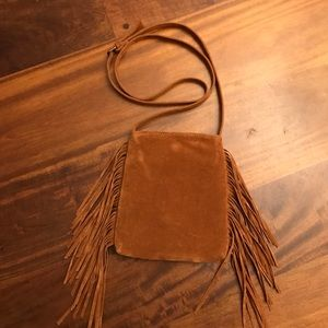Handbags - Faux Suade small fringe Cross Body Bag