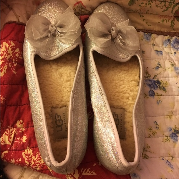 c70a20a4d72a UGG Shoes | Girls Australia Ashley White Glitter Flat | Poshmark