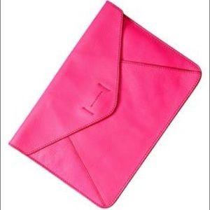 GAP pink leather clutch BNWT