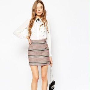 NWT ASOS Premium Boucle Stripe Mini Skirt