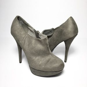 Mossimo Shoes - *NWOT* Mossimo Grey Faux Suede Platform Booties