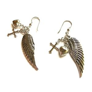Rush Vii Angel Wing Silver Earrings