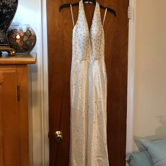 Lillie Rubin Dresses | White Beaded Halter Top Gown | Poshmark