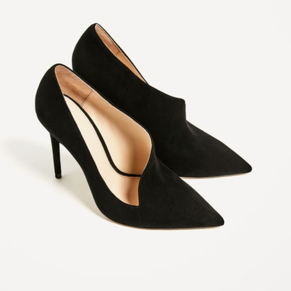 b6b2bcf63392 Zara Shoes | Leather Asymmetric Black Suede Heels | Poshmark
