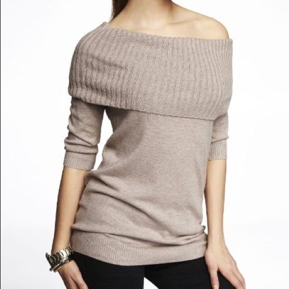 76% off Express Sweaters - Express Convertible Cowl Neck Sweater ...