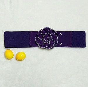 Accessories - Retro Purple Velvet Zipper Pin Up Statement Belt