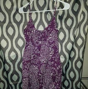 Long Purple Paisley Spaghetti strap dress