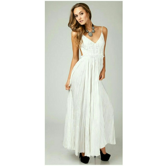 4e83fc21b68 ANGL White Backless Crochet Lace Maxi Dress
