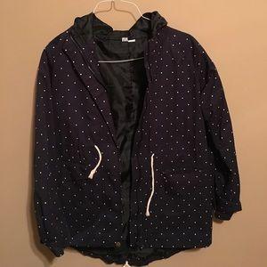 Jackets & Blazers - Navy polka dot rain jacket