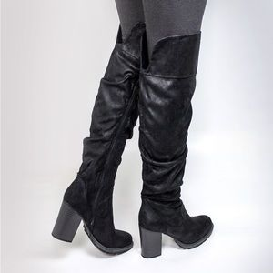 Seven Dials Shoes - Seven Dials Over-The-Knee Slouchy Lug Boots