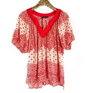 Gypsy 05 Tops - GYPSY 05 Red Printed Blouse