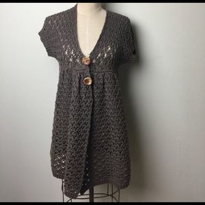 Free People crocheted long length S/S sweater