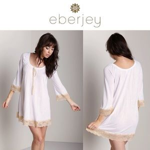Eberjey Other - 💕 20% OFF Eberjay Bardot Sleeved Chemise Tan Lace
